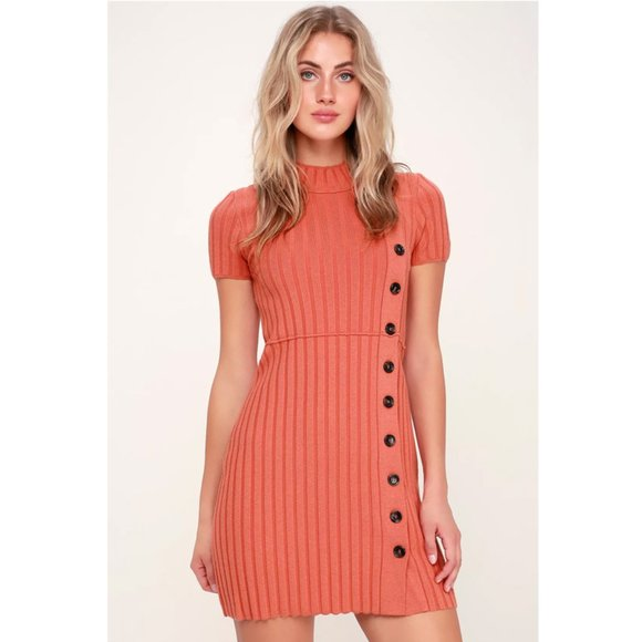 Free People Dresses & Skirts - Free People | Lottie Coral Pink Sweater Dress